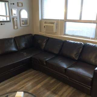 Free faux-leather L sectional