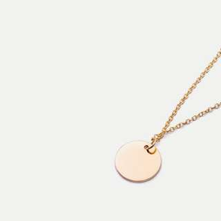 Gold round / circle disk necklace