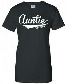 Auntie Since Date Design T-Shirt Custom Tee