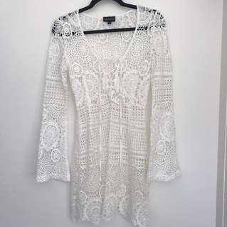 Lacy Crochet Mini Dress
