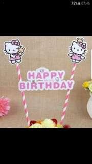 Hello kitty Happy Birthday Cake Topper/ Deco flag