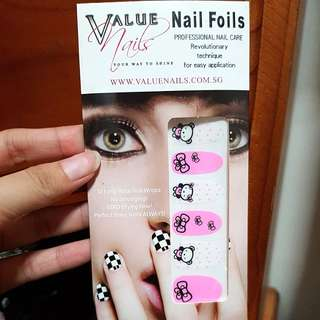 BNIP nail stickers pink cute bear ribbon