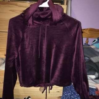 velvet cropped hoodie