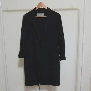 Zara Long Black Peacoat Small