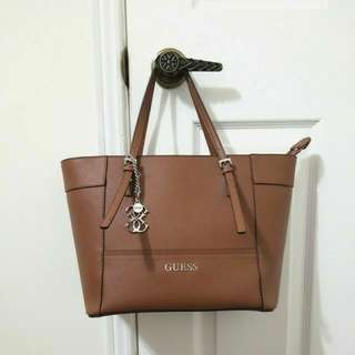 GUESS Brown Leather Tote Purse