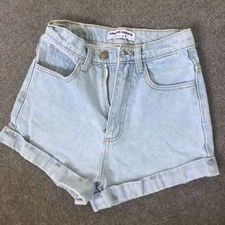 American apparel classic high waisted denim shorts