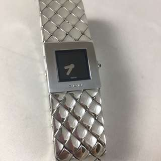 Chanel stainless still quilted strap design watch