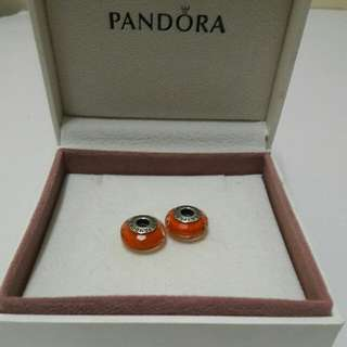 Pandora Faceted Charms Set Of 2 -Orange