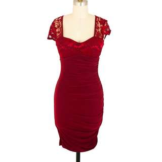 Red lace vintage Dress size 8