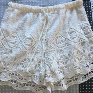 White Lace flowy shorts from Europe