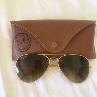 Ray Ban RB3025 Light Brown/Beige Aviator Sunglasses
