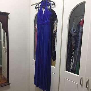 Cobalt blue long halter gown