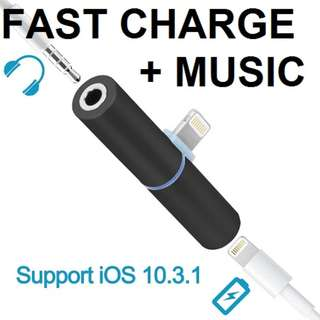 2 in 1 lightning and audio headphone jack for iphone X/8/7