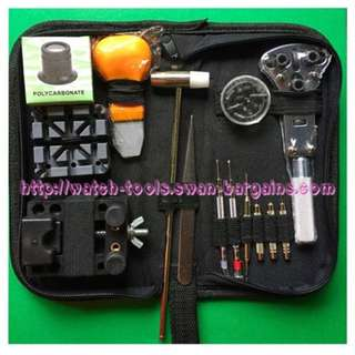 Complete 14pcs Watch Repair Battery Leather Strap Change Bracelets Resizing Tool Kit In Handy Portable Carrying Zip Pouch