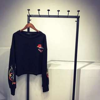 Cropped style black hoodie size M