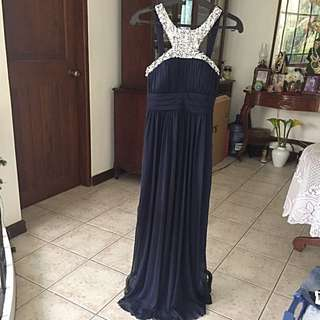 Midnight blue sequinned evening gown