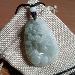 Certified Green Transparent Dragon Jadeite Jade Pendant Necklace #july70