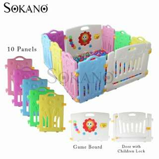 SOKANO 10 Panels Baby Safety Play Yard With Safety Door and Game Wall (8 Panels + 1 Game Wall + 1 Door)
