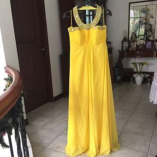 Yellow halter evening gown