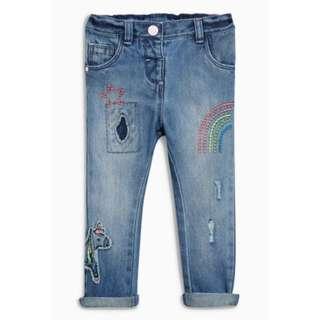 Mid Blue Unicorn Embellished Jeans