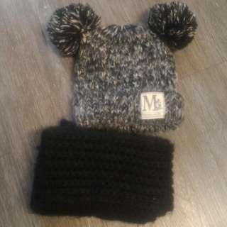 米奇毛帽+圍巾(二手)