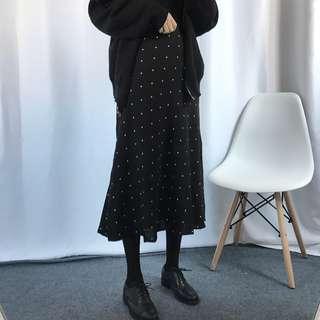韓版顯瘦點點厚雪紡荷葉邊A字傘裙 長裙 #現貨 #全新 #冬季衣櫃出清