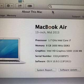 MacBook Air Mid 2013 i7 13""
