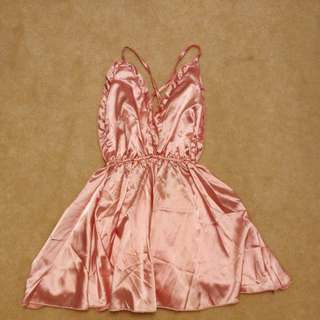Pink Satin Backless Ruffle Romper
