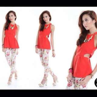 SALES: TJM Red Cut Out Peplum Top