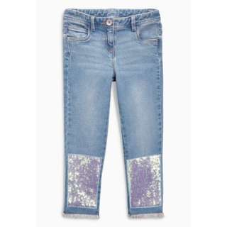 Mid Blue Sequin Relaxed Skinny Jeans