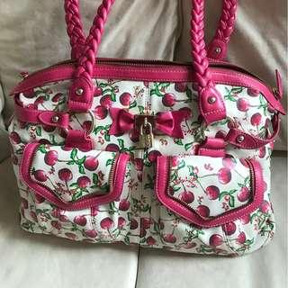 Authentic Samantha Vega Cherry Pattern Woman Shoulder Bag 日本名牌SAMANTHA VEGA 櫻桃圖案女裝肩揹手袋