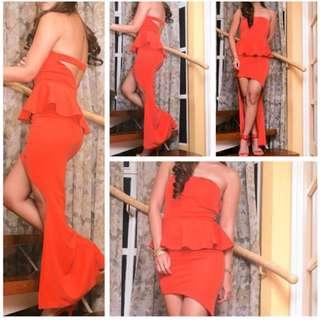 Long Back Branded Dress