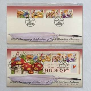 FDC First Day Cover - Singapore 2005 - 200th Anniversary Celebration of Hans Christian Andersen (set of 2 covers)