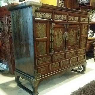 Antique Vintage Wood Cabinet With Brass Fittings