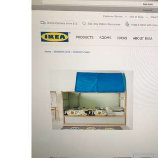 IKEA Kura Reversible Bed Frame with Bed Tent