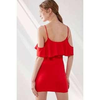 Silence + Noise ruffle neck red mini bodycon dress