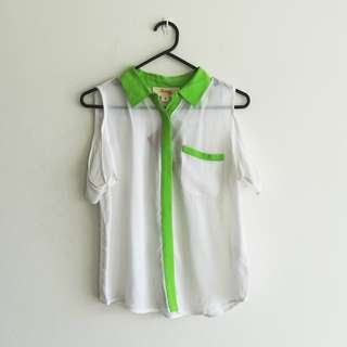 Kenji Size 8 BNWT White and Neon Green Collar Blouse Cold Shoulder