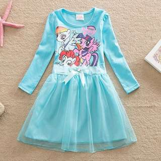 Preorder light blue poney Dress with ribbon