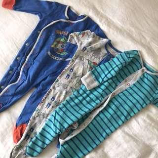Next uk baby boy sleep suit set of 3