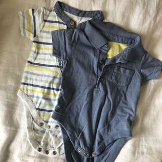 Baby boy Mothercare rompers Set of 2