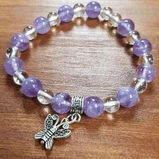 水晶 crystal 薰衣草紫水晶 白水晶 純銀銀飾