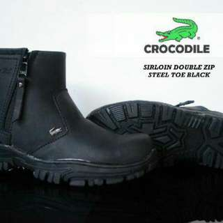 Crocodile Sirloin Double Zip Steel Toe Boots