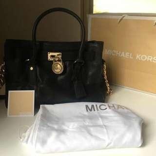 Genuine Michael Kors Medium Black Hamilton Saffiano Leather Satchel