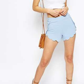 ASOS Size 8 BNWT Scallop Shorts in Light Blue