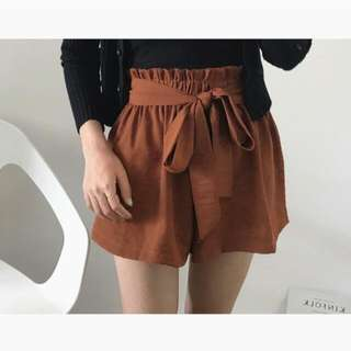 出清💖焦糖色寬鬆綁帶短褲