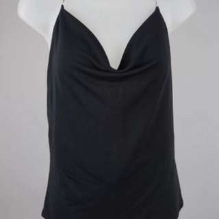 Women's Gucci Black Jersey Silver Chain Silver Backless Top Size S