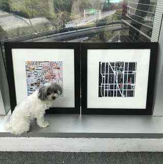IKEA picture frames and art (dog for scale, not included)