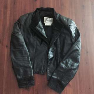 Leather jacket with embroided shapes (made in Korea)