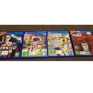 PS4 Playstation 4 Games - Fifa 14, 16, 17 + NBA 2K14
