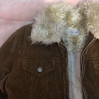 🚚 🔻降🔻古著CK燈芯絨厚鋪棉 卡其外套